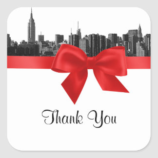 NYC Wide Skyline Etched BW Red Favor Tag #2 Square Sticker