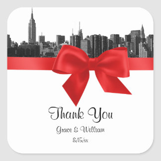 NYC Wide Skyline Etched BW Red Favor Tag Square Sticker