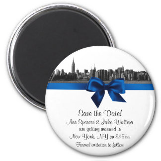 NYC Wide Skyline Etched BW Royal Blu Save the Date 6 Cm Round Magnet