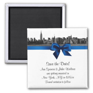 NYC Wide Skyline Etched BW Royal Blu Save the Date Magnet