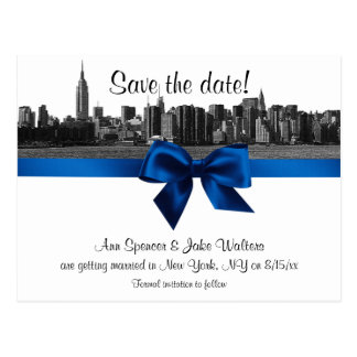 NYC Wide Skyline Etched BW Royal Blu Save the Date Postcard