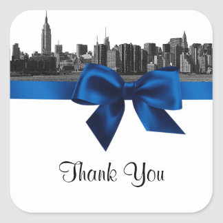 NYC Wide Skyline Etched BW Royal Blue Favor Tag #2 Stickers