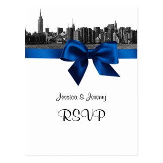 NYC Wide Skyline Etched BW Royal Blue RSVP 1 Postcard