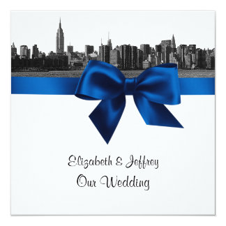 NYC Wide Skyline Etched BW Royal Blue Wedding SQ Card