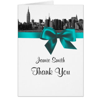 NYC Wide Skyline Etched BW Teal Thank You #2 Stationery Note Card