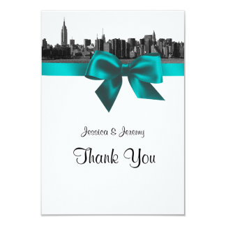 NYC Wide Skyline Etched BW Teal Thank You Card