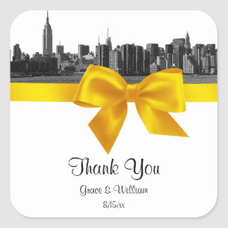 NYC Wide Skyline Etched BW Yellow Favor Tag Square Sticker