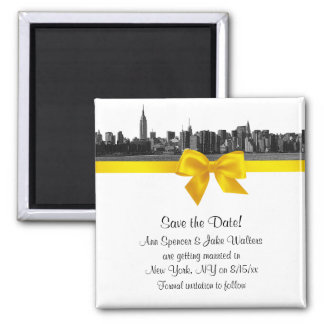 NYC Wide Skyline Etched BW Yellow Save the Date Square Magnet