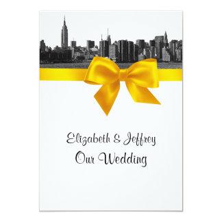 NYC Wide Skyline Etched BW Yellow Wedding Card