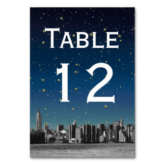 NYC Wide Skyline Gradient Blue Starry DIY BG Table Card