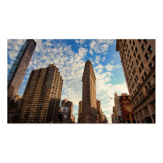 NYC's Flatiron Building, Wide View, Puffy Clouds Double-Sided Standard Business Cards (Pack Of 100)