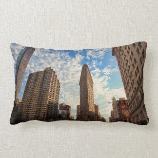 NYC's Flatiron Building, Wide View, Puffy Clouds Lumbar Cushion