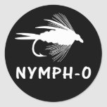 Nymph-O funny fly fishing lure Round Stickers