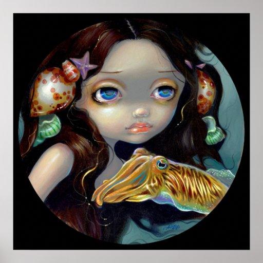 Nymph with a Cuttlefish ART PRINT mermaid fantasy