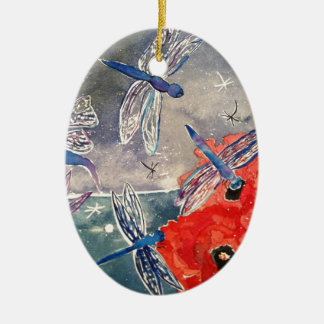 Nymphs and Dragonfly Watercolor Painting Ceramic Oval Decoration