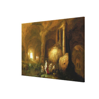 Nymphs Bathing by Classical Ruins Canvas Print
