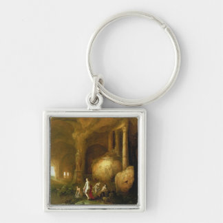 Nymphs Bathing by Classical Ruins Key Chain