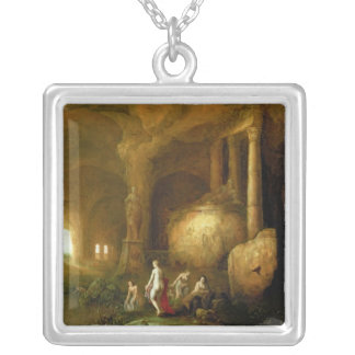 Nymphs Bathing by Classical Ruins Silver Plated Necklace