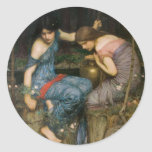 Nymphs Finding the Head of Orpheus Round Sticker