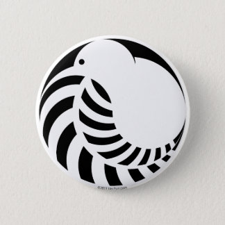 NZ Kiwi / Silver Fern 6 Cm Round Badge