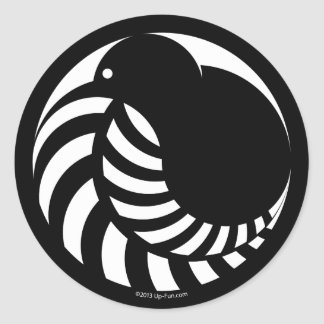 NZ Kiwi / Silver Fern Emblem Round Sticker
