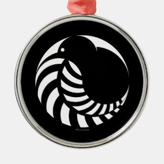 NZ Kiwi / Silver Fern Emblem Silver-Colored Round Decoration