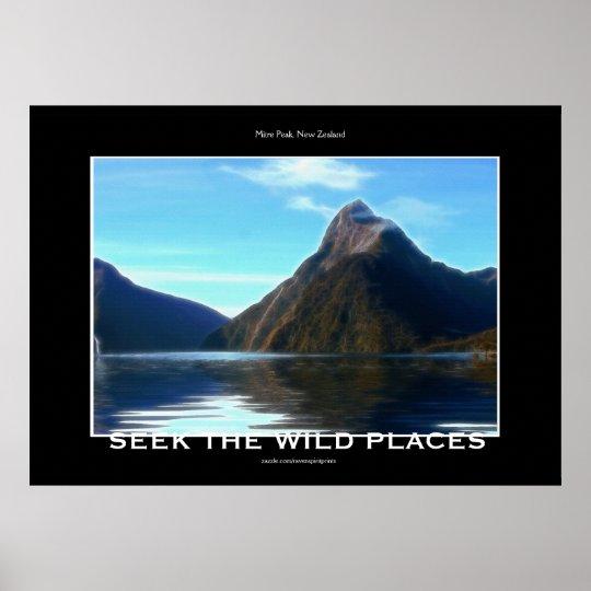 NZ Mitre Peak Scenic Motivational Art Poster