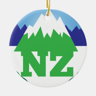 NZ (NEW ZEALAND) with a mountain range trendy Christmas Ornament
