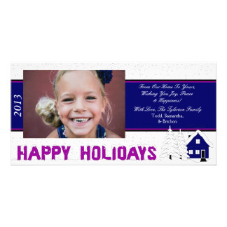 O1 Winter Scene-White & Blue Holiday Xmas Cards Photo Card Template