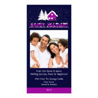 O2 Winter Scene-Midnight Plumb Holiday Xmas Cards Custom Photo Card