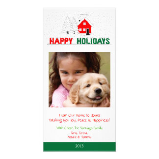 O2 Winter Scene-Red Green Plumb Holiday Xmas Cards Picture Card