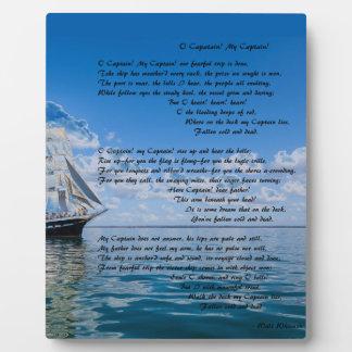 O' Captain, My Captain by: Walt Whitman Plaque