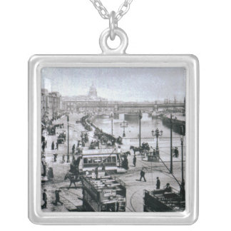 O' Connell Bridge and the River Liffey, Dublin Silver Plated Necklace