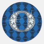 """O"" Diamond Bling on Damask Sticker"