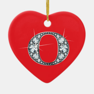 """""""O"""" Diamond Bling on Red Ornament"""