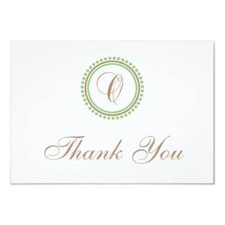 O Dot Circle Monogam Thank You Cards (Brown/Mint) Invitations