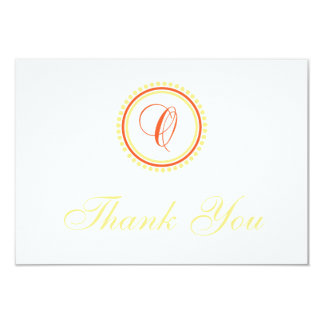 O Dot Circle Monogam Thank You (Orange / Yellow) Personalized Announcement