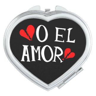 O El Amor Heart Compact Mirror