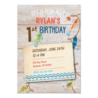 O-Fish-ally Fishing Boys First Birthday Invitation