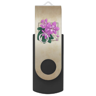 O for Orchid Flower Alphabet Monogram Swivel USB 2.0 Flash Drive