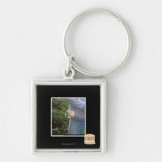 O hai Silver-Colored square key ring