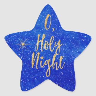O Holy NIght Christmas Blue and Gold Star Sticker