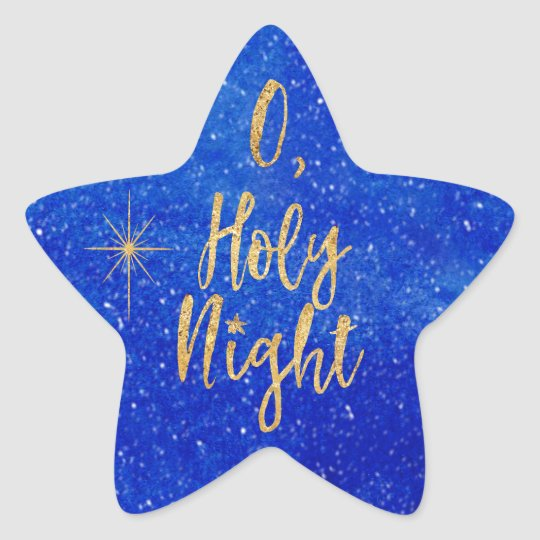 O Holy NIght Christmas Blue and Gold Star