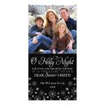 O Holy Night Religious Christmas Black Photo Greeting Card