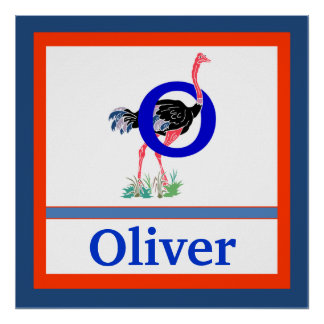 O is for Ostrich and Boy Name Wall Art for Kids Poster
