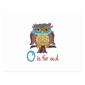 O IS FOR OWL POSTCARD