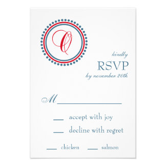 O Monogram Dot Circle RSVP Cards Red Blue