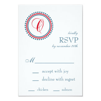 "O Monogram Dot Circle RSVP Cards (Red / Blue) 3.5"" X 5"" Invitation Card"