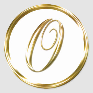 O Monogram Faux Gold Envelope Or Favor Seal Round Sticker