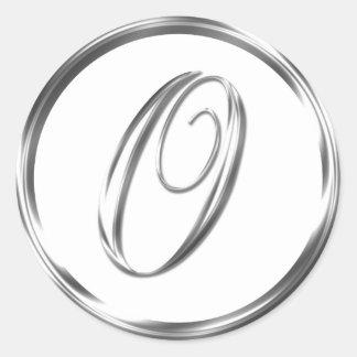 O Monogram Faux Silver Envelope Or Favor Seal Round Sticker